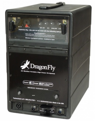 DragonFly portable weatherproof PA system - light loud and amazing. Half the size and weight of consumer grade systems. Great for aquatics swim teams.