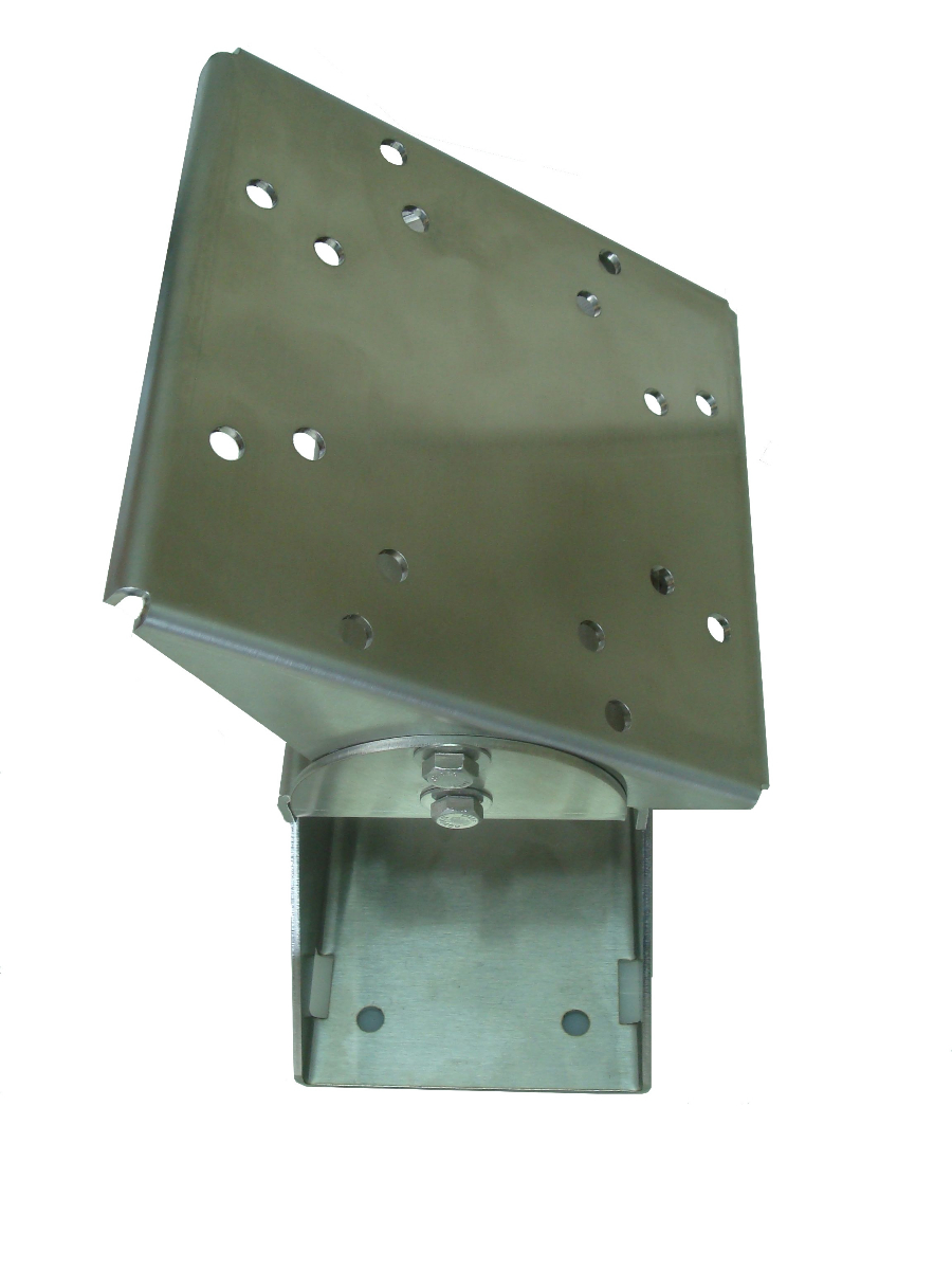 Technomad's stainless steel mount is ideal for outdoor mounting of loudspeakers, with flexible options for sound directivity