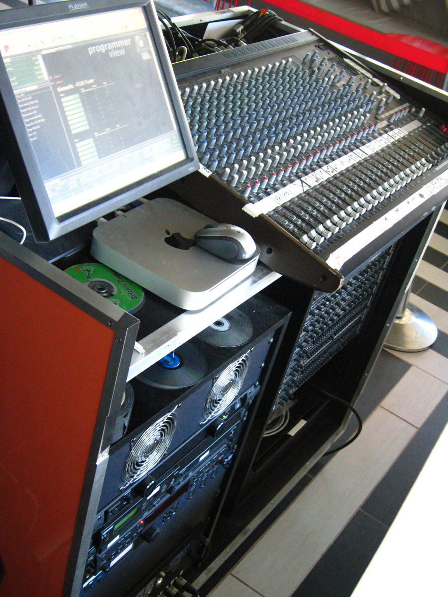 The front of house system in the club ties to the same central headend as the Technomad 70-volt loudspeakers installed outdoors