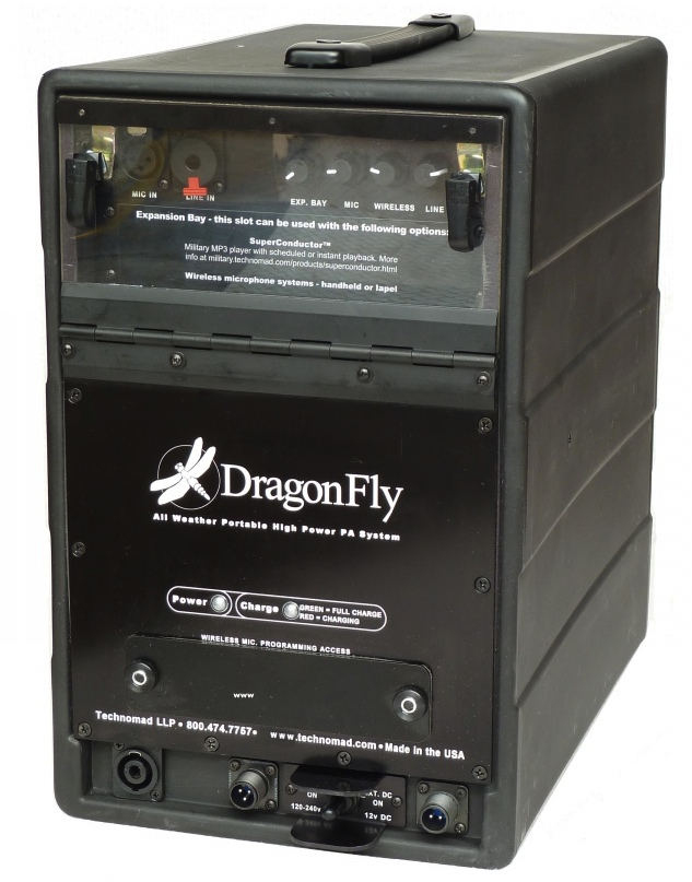 DragonFly portable weatherproof pa system - light, small, and LOUD. Great sound quality, 4+ hour operation from internal battery.