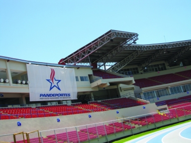 Wide view of stadium seating with Nohos mounted to roof