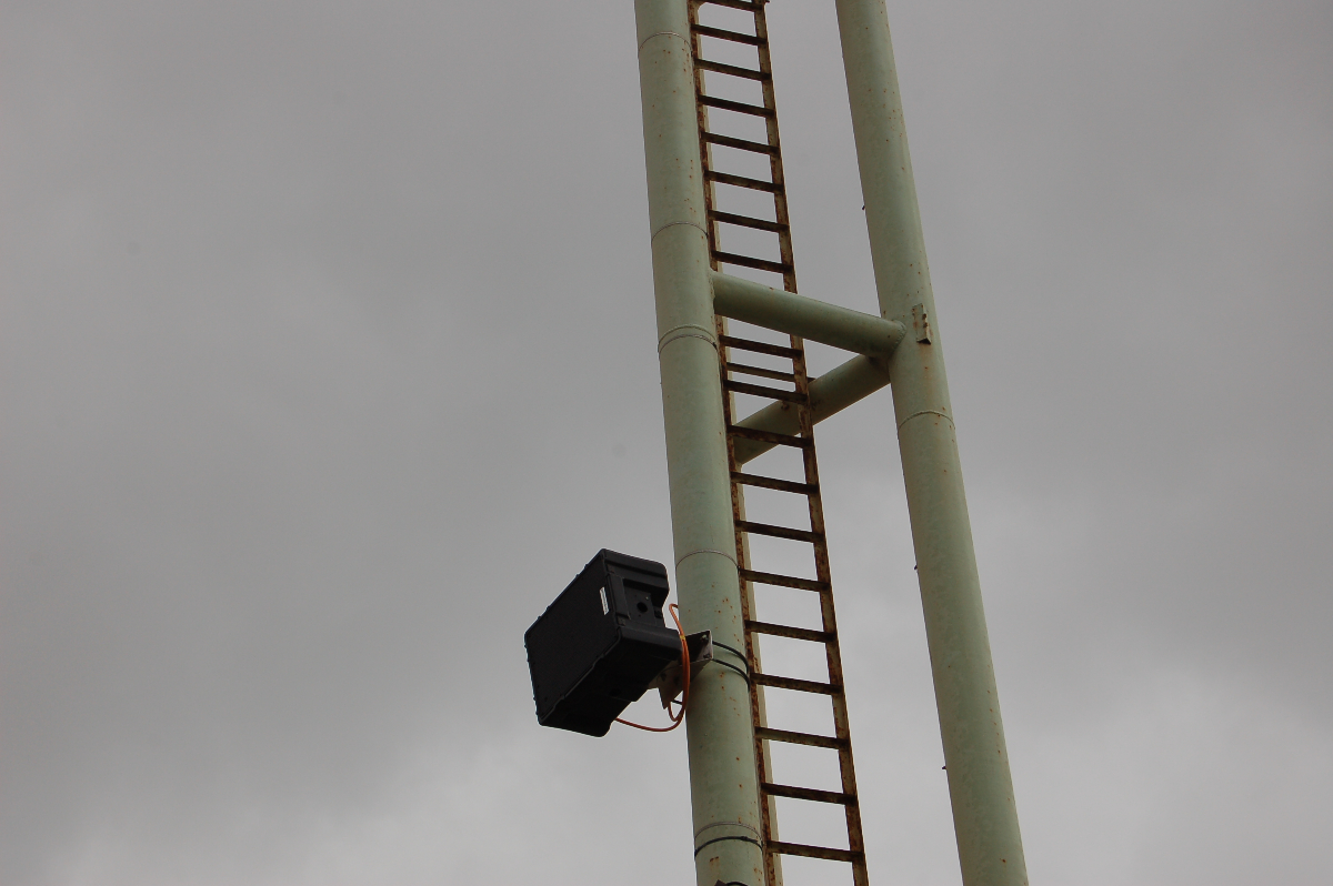 A closeup of a Noho pole-mounted in Stade Francois Coty on the French island of Corsica