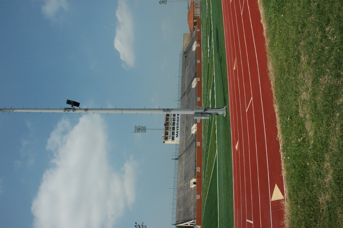 The Yellowjackets Stadium installation also includes Berlins on two lightpoles to maximize coverage across the field and the stands