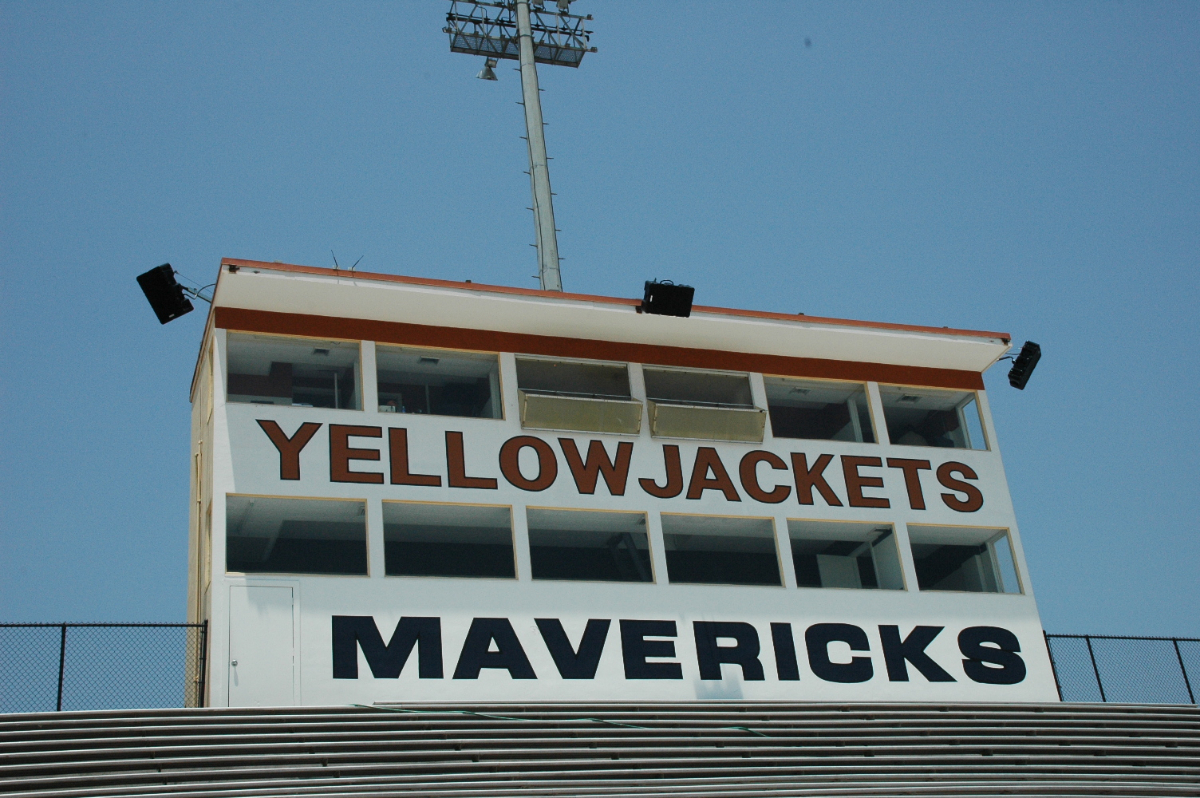The Yellowjackets Stadium installation includes five Berlin loudspeakers, including three on the press box