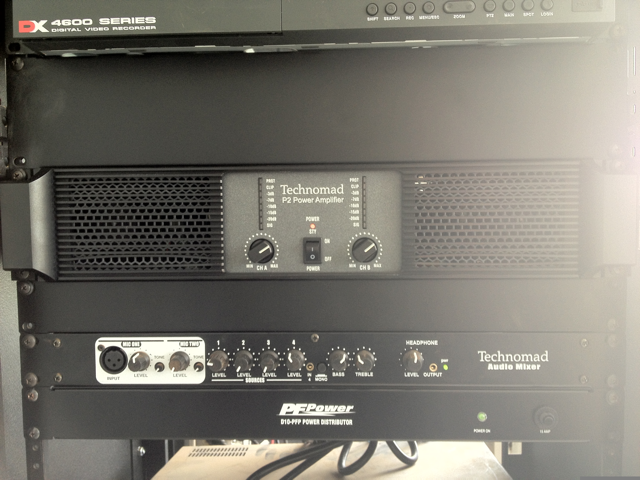 The Technomad Turnkey PA system headend includes a pre-wired amplifier and six-channel mixer — as well as flexibility for students to plug in their iPods and other media players