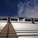 Wes-Tex Audio Electronics installed Technomad yoke mounts to securely hang Berlin weatherproof loudspeakers on the press box