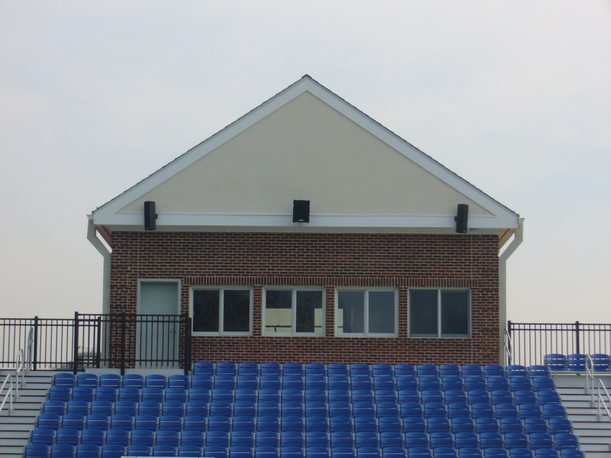 Multiple fly points on Technomad loudspeakers offer numerous mounting options for press box and other installations