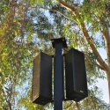 Closeup of Paris loudspeakers atop a custom-built pole at Phoenix Zoo