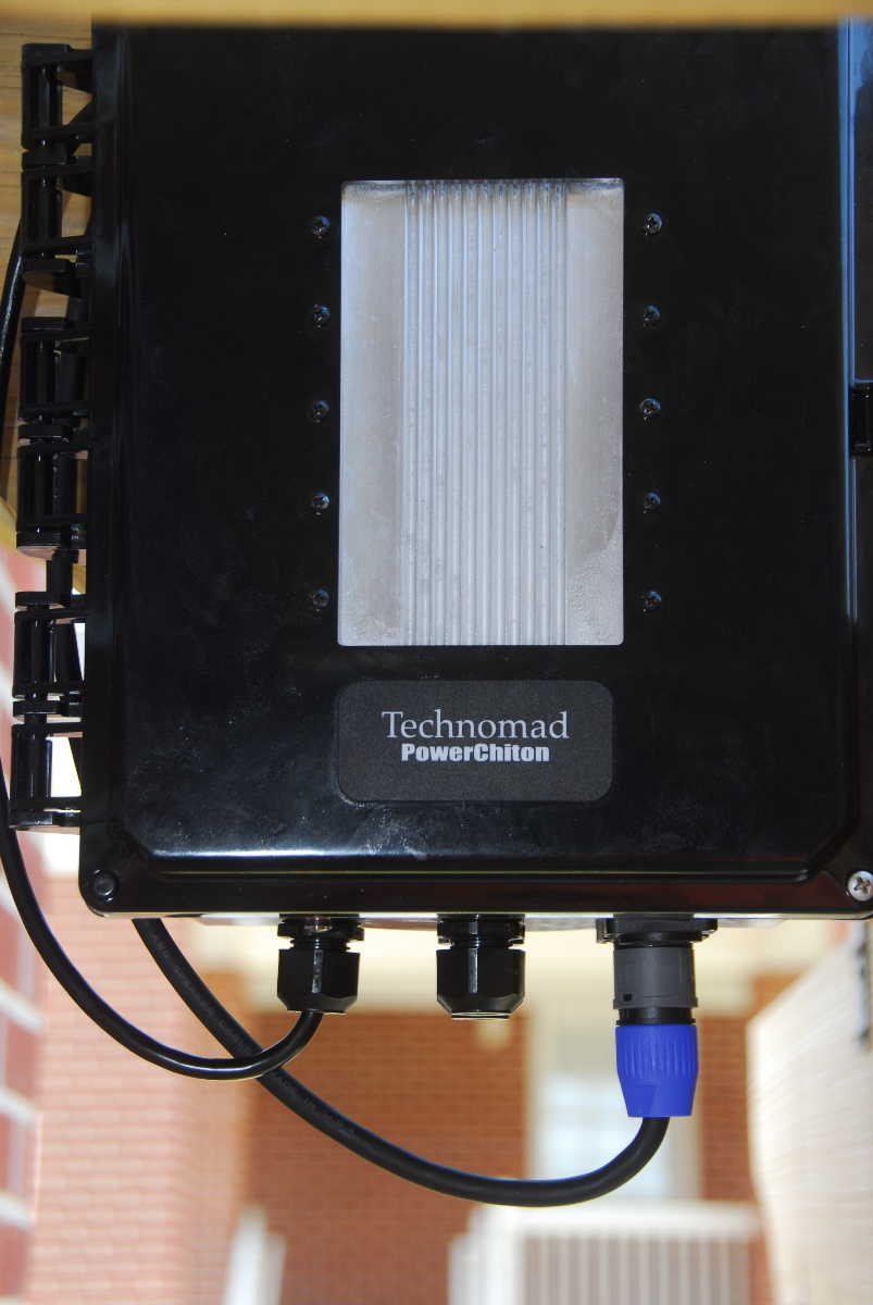 Each PowerChiton breakout box offers several audio controls and connections along with storage space for a mic and audio player