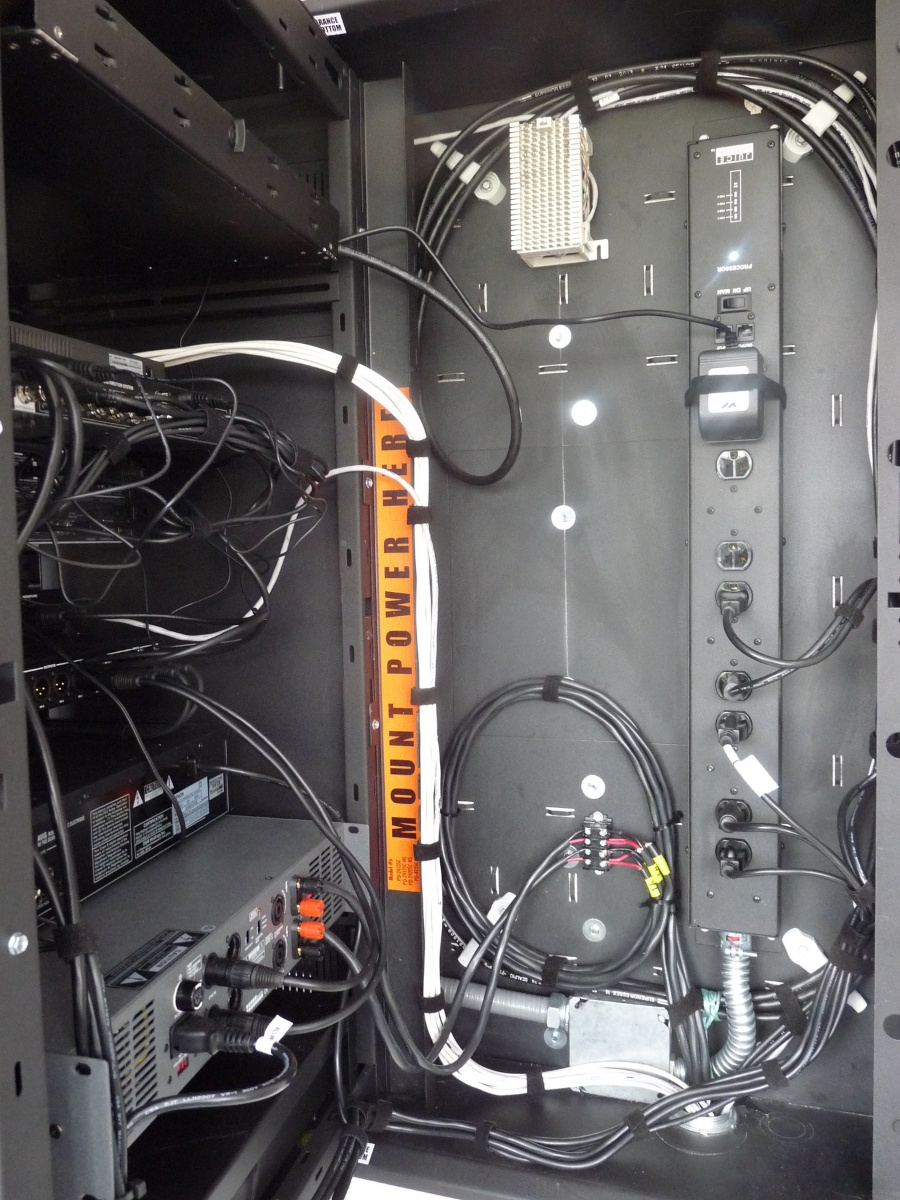 A close-up of the pre-wired equipment rack