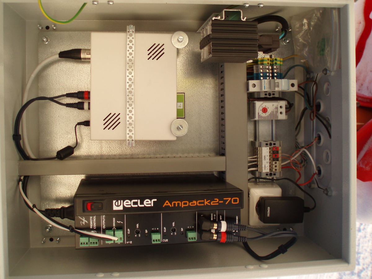 Watt & Volt installed a zoned audio system with protective cases for amplifiers and zoned MP3 players