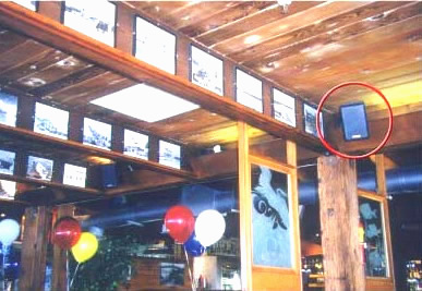 Technomad outdoor weatherproof loudspeakers used at the Gladstones restaurant, Mailibu CA. Restaurant and retail Audio.