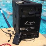 technomad dragonfly portable pa being used for poolside swim practice