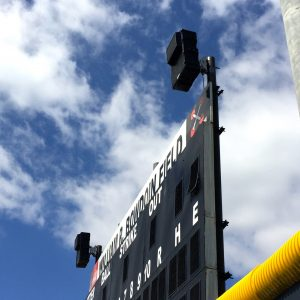 technomad louspeakers installed on a stadium scoreboard