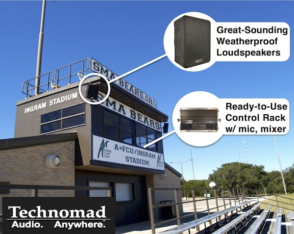 technomad stadium pa largetext 600x477 Install Systems | Technomad  Weatherproof PA Systems for Stadiums, Sports, More